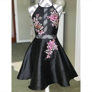 Pink Embroidered Black SATIN dress